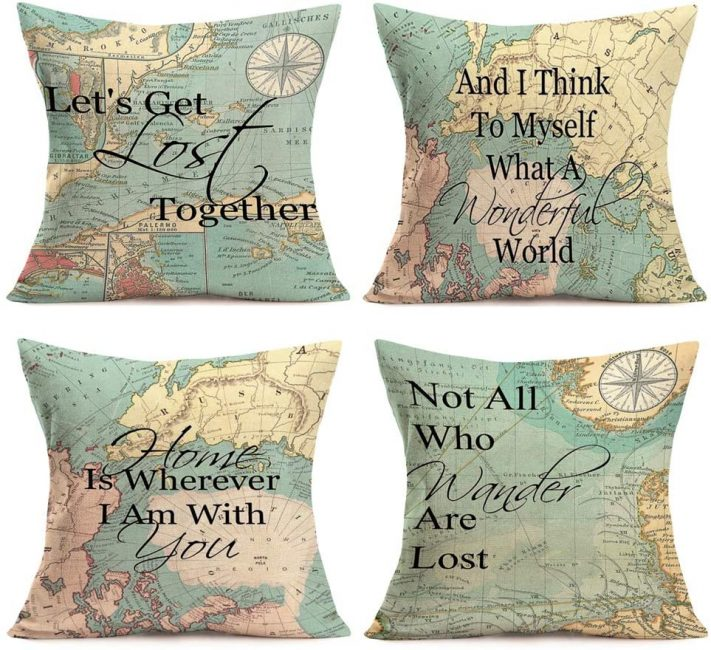 Travel inspired scatter cushions are the most comfortable travel decor you can add to your home.
