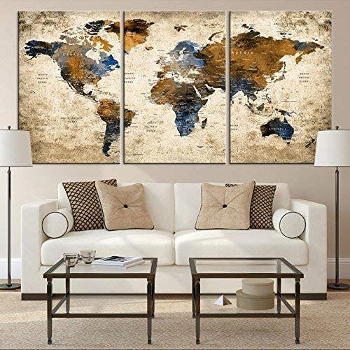 Add something new to your travel wallpaper with a great world map canvas.