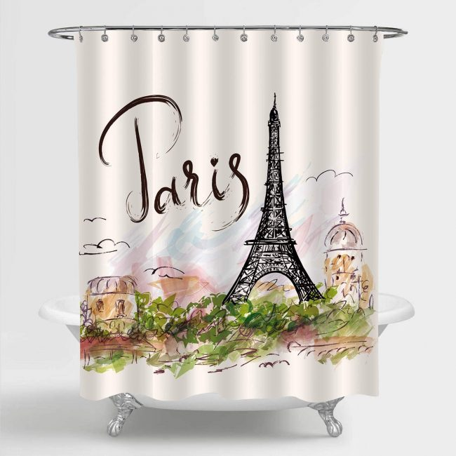 Add a Parisian touch to your bathroom with this travel decor.