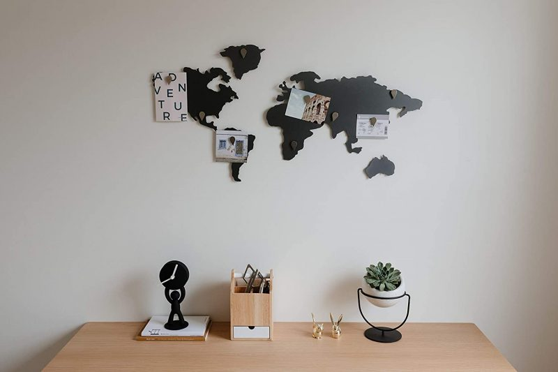 Add a magnetic world map to your walls to keep track of your travels.