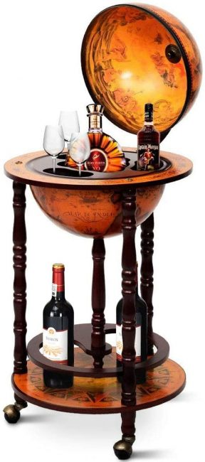 Serve your guests in style with this wine stand shaped as a globe.
