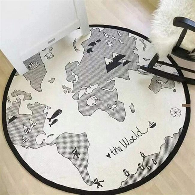 Parents will love this world map baby playmat. It is the perfect way to bring travel decor into your home.