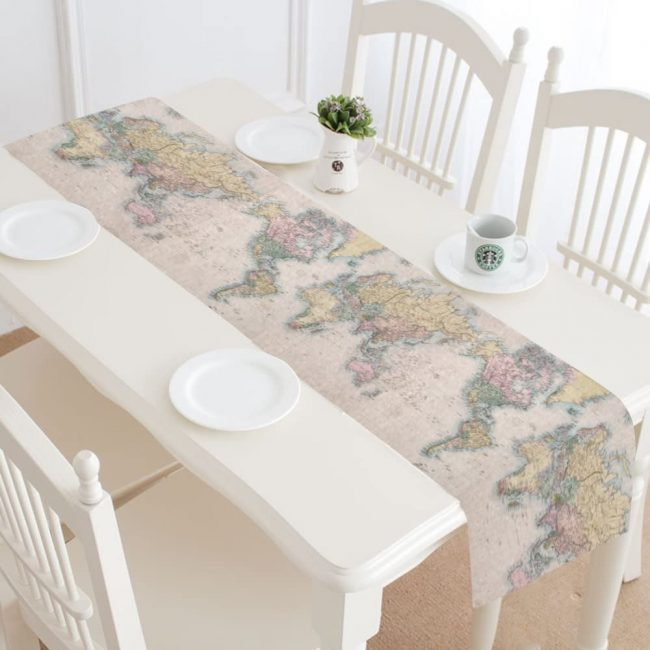 Table runners are a simple and elegant way to add to your home decor. This is a great travel decor piece for all occassions.