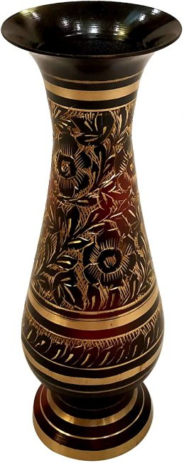 An authentic brass vase with beautiful Indian inspired designs are a staple in Indian homes.