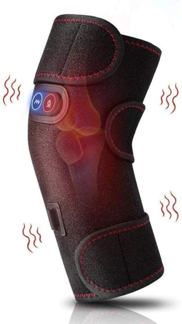 Treat painful knees with a knee brace wrap which applies heat and motion to reduce tension.