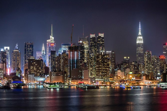 The NYC skyline at night is magical. Enjoy one of the best views of NYC from the Hudson Waterfront.