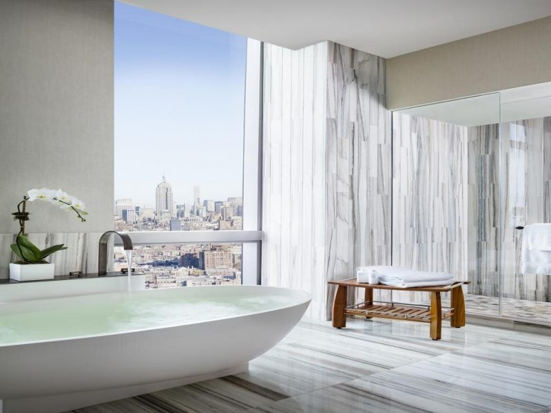 The Dominick Hotel offers you stunning views of the NYC skyline and some of the best views in the city.