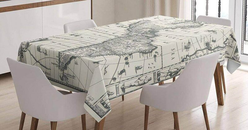 Add a world map tablecloth to your travel decor.