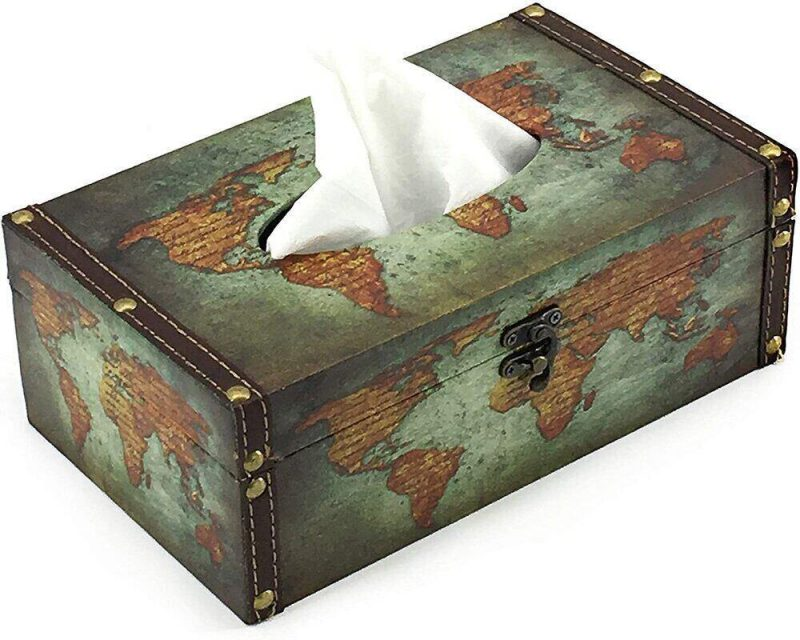 A travel inspired tissue box is a simple way to incorporate travel decor into your home.