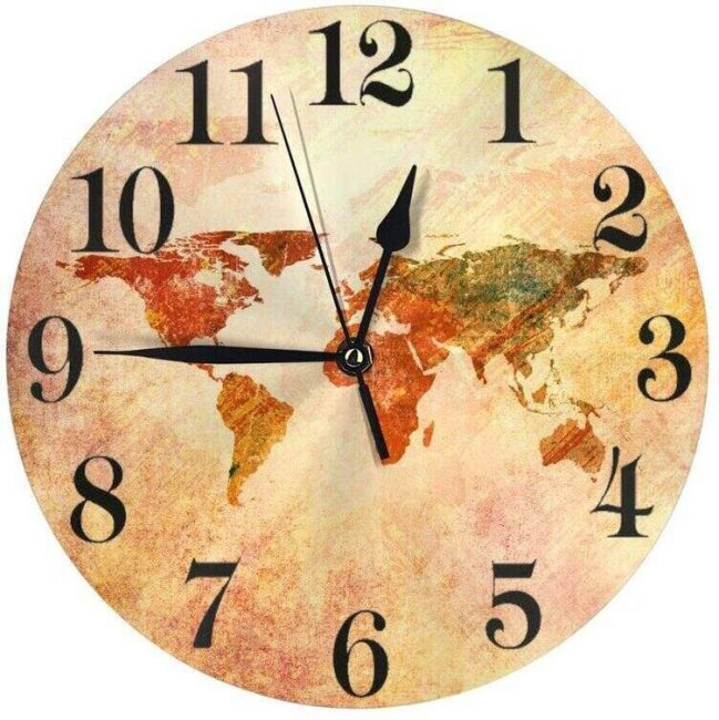 Add a vibrant world map clock to your travel decor.