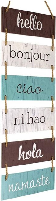 Learn to say hello in different languages and add something new to your travel decor.