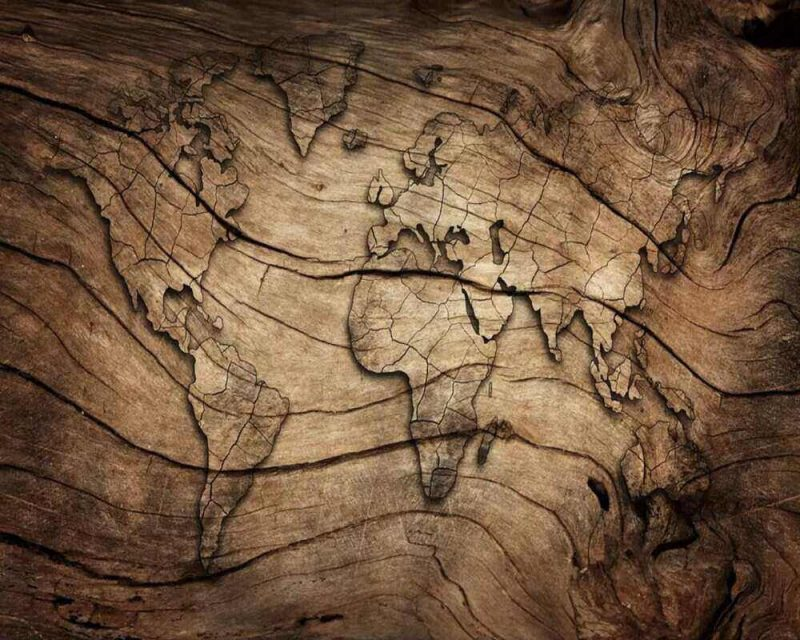 A wallpaper that looks like wood and has the world map on it is perfect for any home.