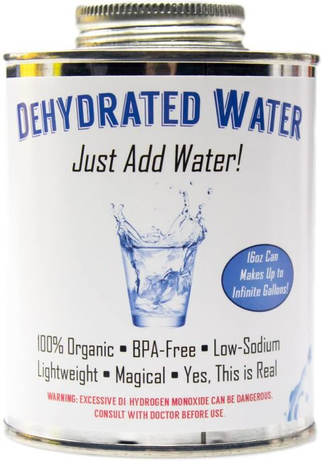 Dehydrated water is a great gag gift for campers.