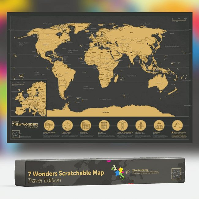 Scratchable World Map with neon colours