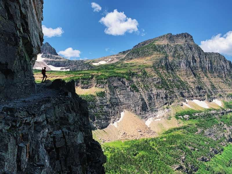 hiker in Glacier National Park, Montana