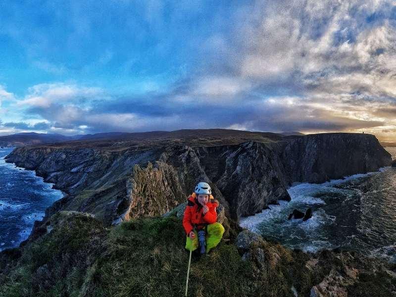 Modern explorer Iain Miller on a rock climbing adventure with his son