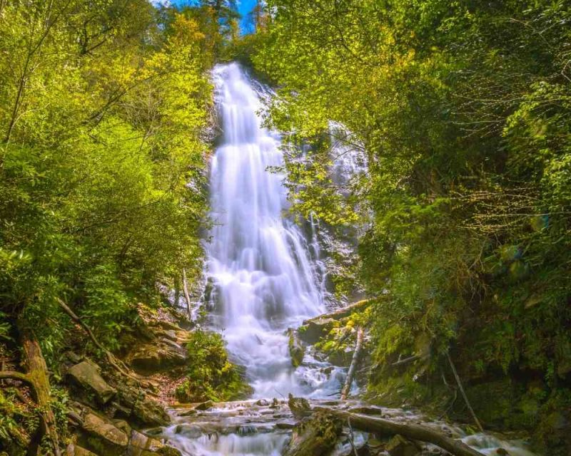 Mingo Falls is a must-see when hiking the Smoky Mountains.