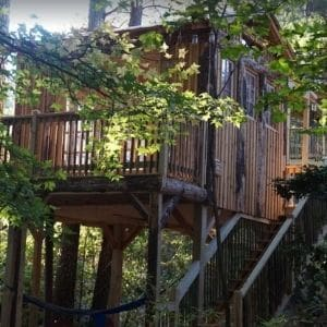 Stay at a unique 2 structure property connected by a rope bridge.