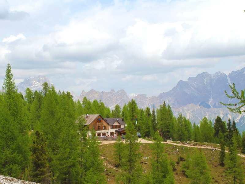 Mountain riguio and the Dolomites Mountain Range on the Alta Via 1 South