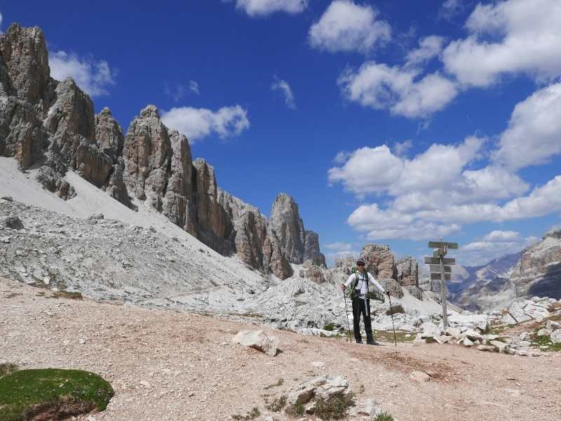 Hiker in the stunning Dolomites on the Alta Via 1 North in Italy