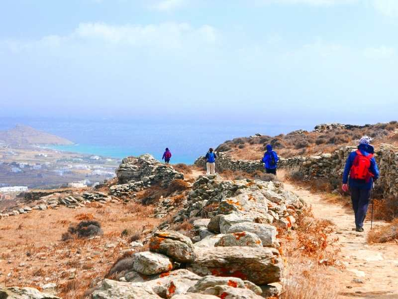 Amazing views of the Egean sea durong the hiking tour in the Greek Cyclades Islands