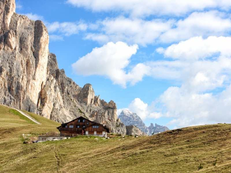 You'll hike to Rifugio Nuvolau on the Alta Via 1 which has some of the best views of the Dolomites found anywhere