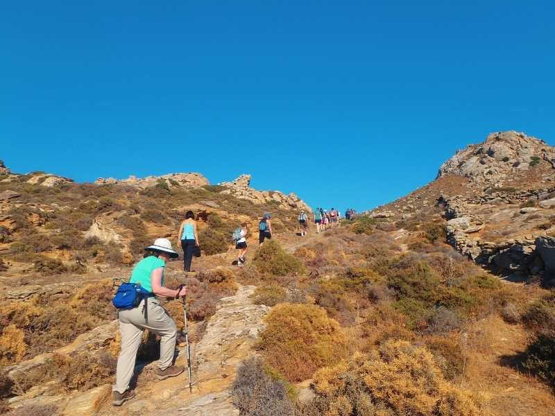 Hiking in Mount Zas during the hiking tour in the Cyclades Islands in Greece