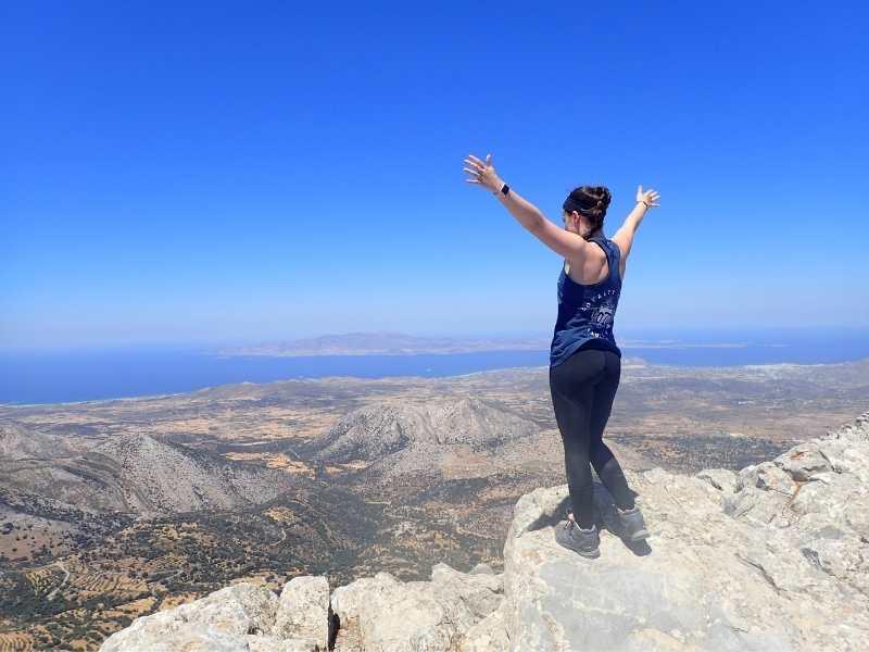 Top of the Mount Zas overlooking the Egean Sea om Naxos