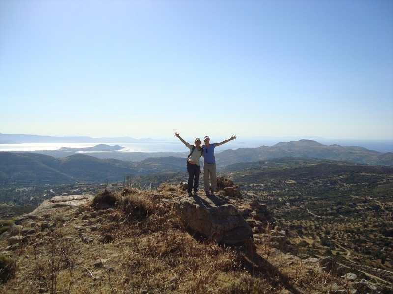 Reaching Mount Zas' summit during the hiking tour in the Cyclades Islands in Greece