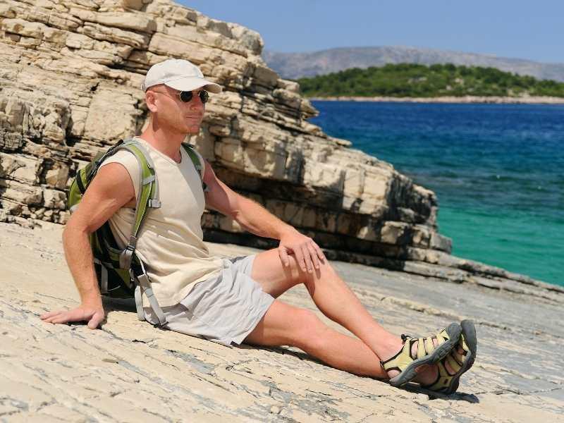 Relaxing after hiking tour in Croatia
