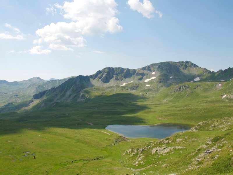 Lake in Albania seen while hiking the Via Dinarica