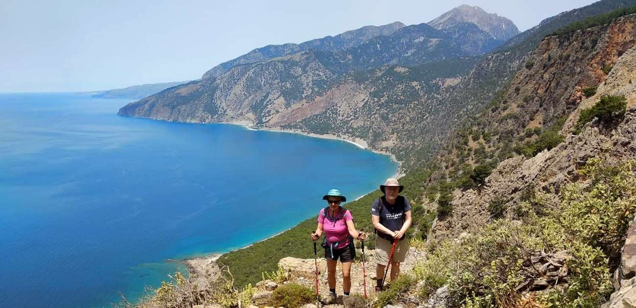 Crete White Mountains Hiking Tour in Greece, 2 hikers with a view of the sea