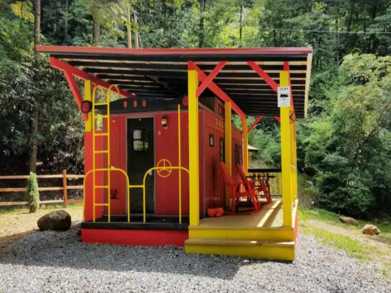 Enjoy a unique stay near Gatlinburg at The Lil Red Caboose on the Creek
