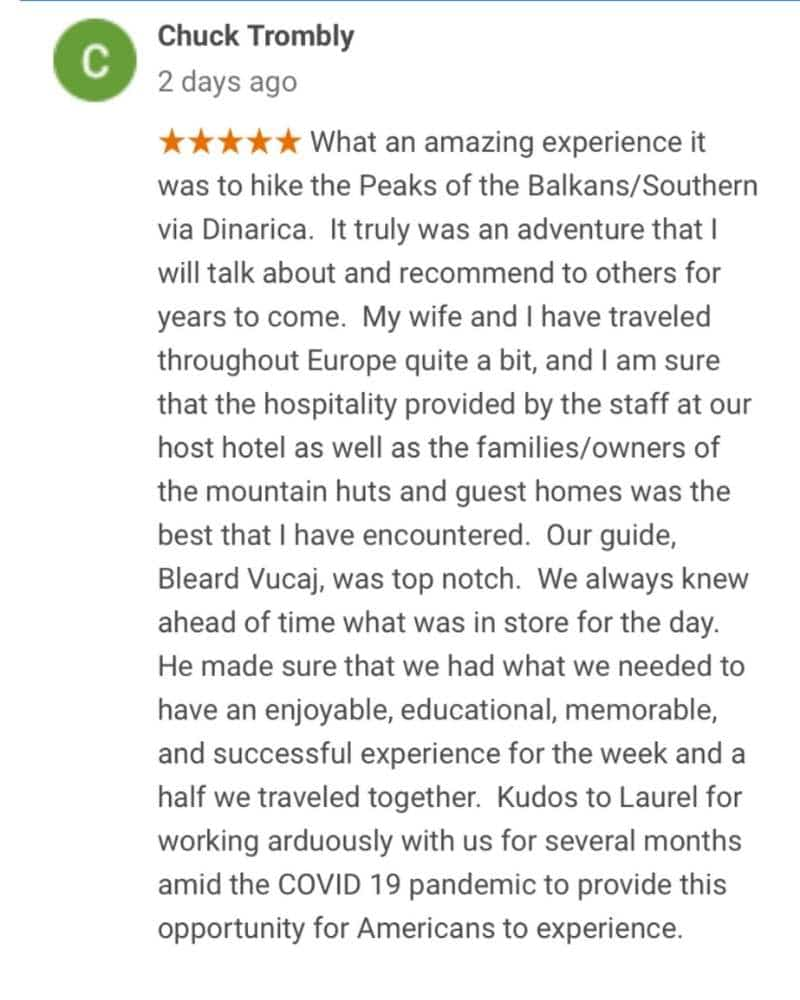 Client review of the Via Dinarica Hiking Tour