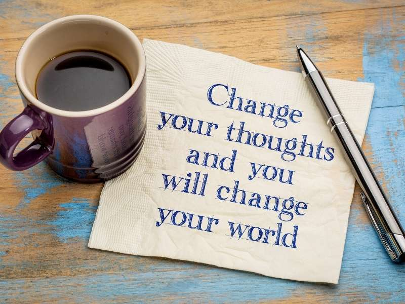 writing on a napkin change your thoughts and you will change your world