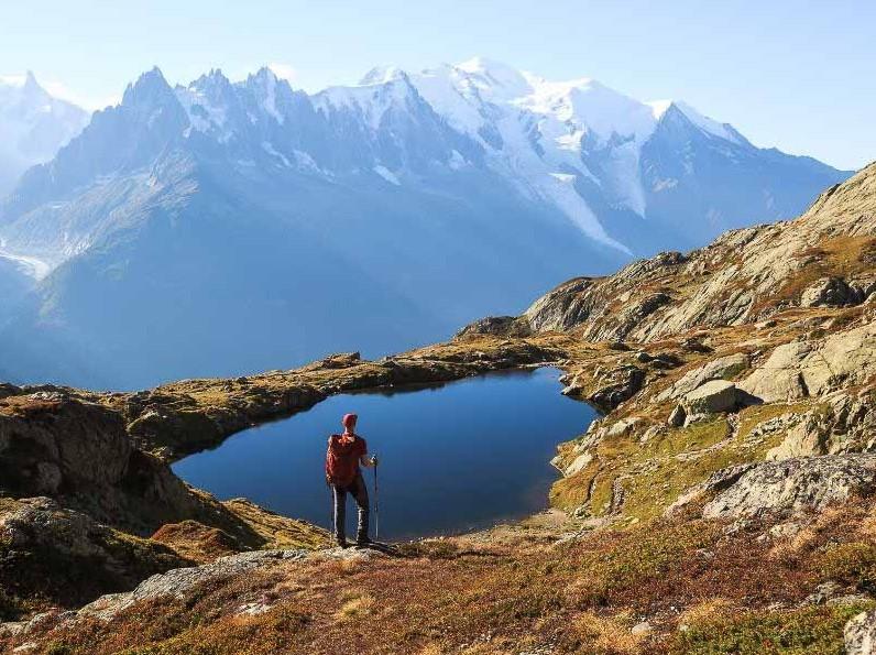 hiker admiring mont blanc
