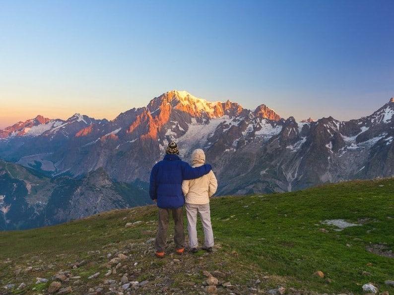 couple enjoying views of Mont Blanc